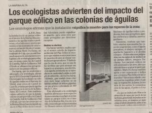 2001.12.17.Levante.(Los ecologistas advierten del impacto del parque eólico en las colonias de águilas)