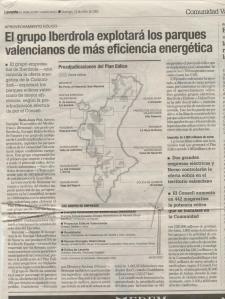 2002.01.13.Levante.(El grupo Iberdrola explotará los parques valencianos de más eficiencia energética)
